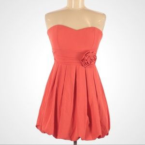 Forever 21 Coral Strapless Pleated Dress